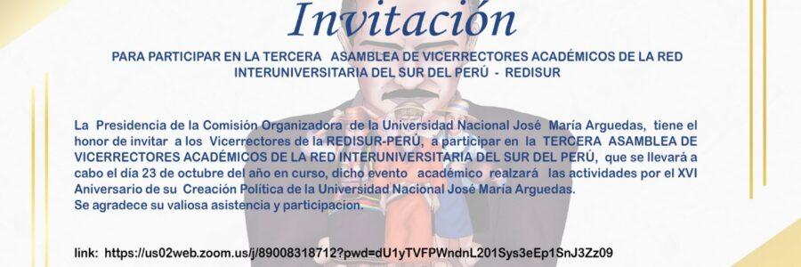 III ASAMBLEA DE VICERRECTORES ACADÉMICOS VIRTUAL DE LA REDISUR-PERÚ