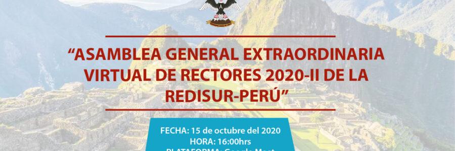 """ASAMBLEA GENERAL EXTRAORDINARIA VIRTUAL DE RECTORES 2020-II DE LA REDISUR-PERÚ"""