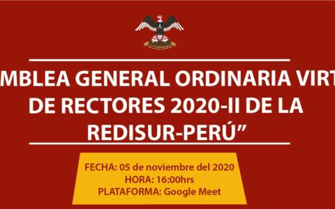 ASAMBLEA GENERAL ORDINARIA VIRTUAL DE RECTORES 2020-II DE LA REDISUR-PERÚ