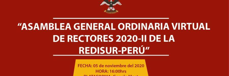 ASAMBLEA GENERAL ORDINARIA VIRTUAL DE RECTORES 2020-II DE LA REDISUR-PERÚ