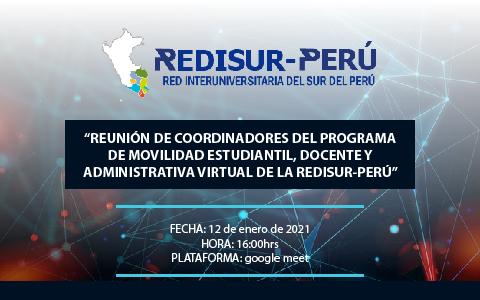 """""""REUNIÓN DE COORDINADORES DEL PROGRAMA DE MOVILIDAD ESTUDIANTIL, DOCENTE Y ADMINISTRATIVA VIRTUAL DE LA REDISUR-PERÚ"""""""