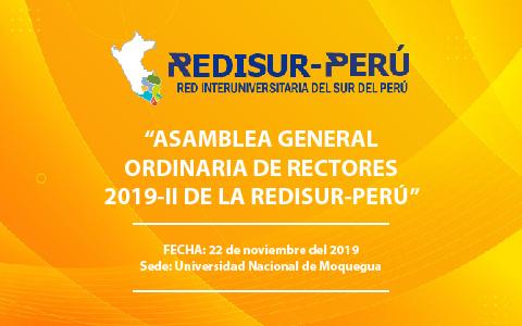 """""""ASAMBLEA GENERAL ORDINARIA DE RECTORES 2019-II DE LA REDISUR-PERÚ"""""""