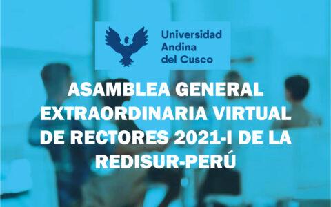 ASAMBLEA GENERAL EXTRAORDINARIA VIRTUAL DE RECTORES 2021-I DE LA REDISUR-PERÚ