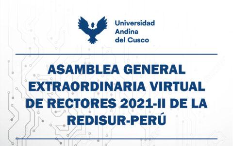 ASAMBLEA GENERAL EXTRAORDINARIA VIRTUAL DE RECTORES 2021-II DE LA REDISUR-PERÚ